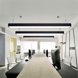 Wholesale Led Ceiling Bars - Hanging wire aluminum ceiling lamp office 1.2m bar lights rectangular ceiling pendant light modern led chandelier lamp fixture for office