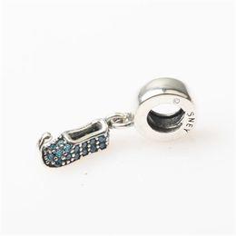 Wholesale Sterling Silver Elf - Dizney Elf Shoe Crystal Charm Bead 100% Authentic 925 Sterling Silver Fashion Women Jewelry European Style For DIY Bracelet PB389