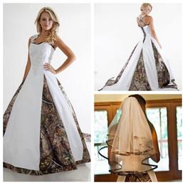 Wholesale Top Beautiful Wedding Dresses - Custom 2017 Beautiful A-Line Camo Wedding Dresses With Veil Lace Appliques Bridal Gowns Chapel Lace Up Back Top Sale Plus Size