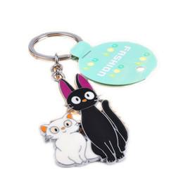 Wholesale keychain cat black - Studio Ghibli Miyazaki Kiki's Delivery Service Jiji cat keychain White and black kitty with Key Ring