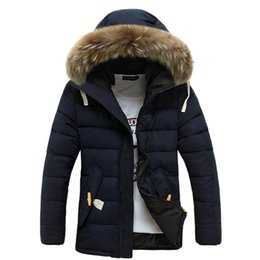Wholesale Fur Coat Parka - Fall-New 2016 Mens Jackets And Coats Thick Fur Collar Winter Coat Men Trend Hooded Parka Blouson Homme Hiver Fashion Brand 3 Color