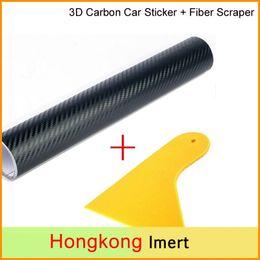 Wholesale Carbon White Wrap - 50*200cm 3D Carbon Fiber Vinyl Film Car Sticker Waterproof DIY Car Styling Wrap+Carbon Fiber Scraper Tools Auto Accessories
