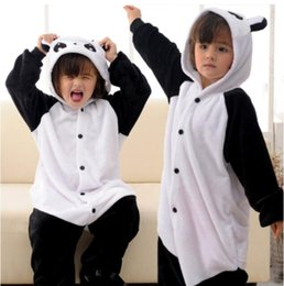 Wholesale Cute Babies Panda Costume - Cute Black White Panda Kigurumi Pajamas Baby Animal Suits Cosplay Outfit Child Halloween Costume Garment Cartoon Jumpsuits Unisex Sleepwear