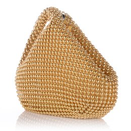 Wholesale Heart Shaped Wallet Purse - Wholesale-Women Wristlets Totes Handbags Lady Party Evening Wedding Mini Bags Purses Aluminum Beads Heart Shape High Quality Wholesales