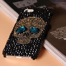 Wholesale Wholesale Metal Skulls For Cases - Handmade Diamond Metal saphire eye Skull back Cover phone case for Iphone 5 5s 6 6 plus for Samsung galaxy S6 S6 edge