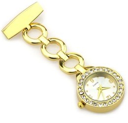 Wholesale Hospital Setting - rhinestone nurse watch fob pocket watch jewelry luxury brand gift for nurse and doctors hospital use medical gift set gold and silver