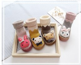 Wholesale Toddler Animal Shoes - 4 Styles Unisex Baby Kids Toddler Baby Boat socks Girl Boy Anti-Slip Socks Shoes Slipper Sock Cute Cartoon Beer Rabbit Socks A7655