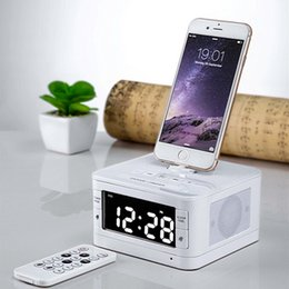 Wholesale Iphone Portable Docking Station - Wholesale- LCD Digital FM Radio Alarm Clock Portable Bluetooth Loudspeaker Charger Dock Station for iphone 5 5s 6 6s plus 7 Remote Control