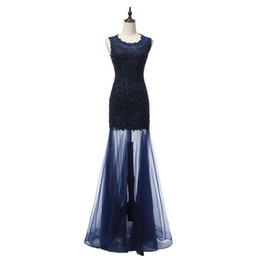 Wholesale Plus Size Petite Wedding Dresses - 2018 Long Prom Mermaid Dresses vestidos de Noiva Scoop Neck vestidos de Noiva Evening Gowns Fast Shipping