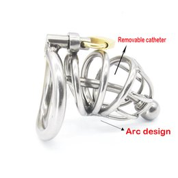 Wholesale Steel Cock Sleeves - Sex Toys Metal Stainless Steel Chastity Belt Penis Sleeve Catheterization Is Arc-shaped Cock Ring For Men