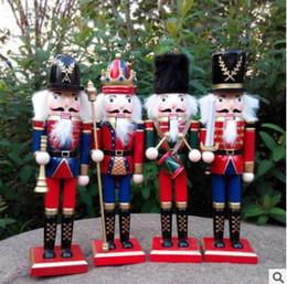 2019 escritorio de madera 30CM Navidad Cascanueces de Navidad Soldados Títere Zakka Creative Decoración de Escritorio de Gran Tamaño Adornos de Navidad Dibujo Nueces Soldado rebajas escritorio de madera