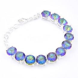 Wholesale Thanksgiving Rainbow Loom - new fashion classic elegant gemstone crystal rainbow loom 925 silver charm bracelet bohemian charm bracelet bangle B1008