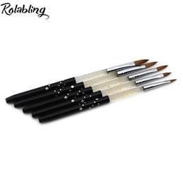 Wholesale Sable Brush Sets - Wholesale- 2017 Size 2# 4# 6# 8# 10# 100% Kolinsky Sable acrylic brush 5pcs SET Professional Black Sable Acrylic Kolinsky Nail Brush