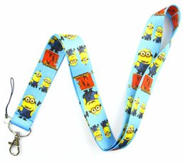 Wholesale Despicable Neck Strap - Wholesale-Lot 10Pcs Popular Despicable Me Cartoon Mobile Cell Phone Lanyard Neck Straps Party Gifts A154