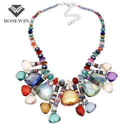 Wholesale Geometric Choker - Women 's Bohemia New Chic Pendants Necklaces fashion Beaded Chain Geometric Crystal Gems Choker Handmade Statement Necklaces CE3877