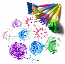 Wholesale Diy Art Toys - 4 Pcs set DIY Flower Graffiti Sponge Art Supplies Brushes Seal Painting Tools Funny Drawing Toys Funny Creative Toy for Children