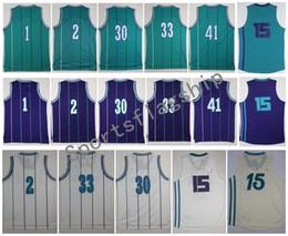 Wholesale El Lights Yellow - Retro hornetz #1 BOGUES #2 JOHNSON #15 WALKER #30 CURRY #33 MOURNING #41 RICE Purple White Light Blue Jerseys Short With Player Name