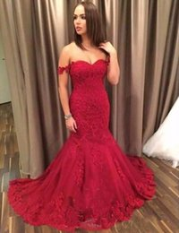 Wholesale red pagent dresses - Red Mermaid Prom Dresses Long Off The Shoulder Lace Appliqued Lace Up Evening Formal Wear Party Gowns Pagent Dress SE178