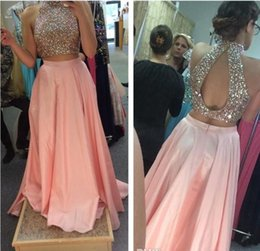 Wholesale Cheap Cut Out Prom Dresses - Hot Sale Two Pieces Dresses Blush Pink Prom Dress 2017 Colorful Crystals Crop Top with Cut Out Open Back High Neck Halter Cheap