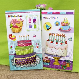 Wholesale Happy Friends - (16Pieces  Lot )3D Stereo Cake Handmade Birthday Greeting Card With Envelope Happy Birthday Gift To Friend Card Set Free Shipping