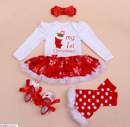 Wholesale Girls Tweed Dress - Christmas Baby Girl Rompers Dress + Headband + Shoes + Leg Warmer Children Boy Girl Crochet Waem Long Sleeve Rompers Baby Clothes K8224