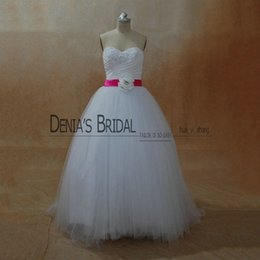 Wholesale White Beaded Bridal Belt - 2017 A-Line Wedding Dresses Strapless Collar Beaded Pearls Pleated Bodice Lace-Up Floor Length Court Train Bridal Gowns With Fuchsia Belt