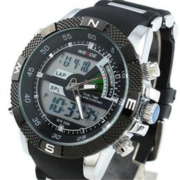 Wholesale Weide Quartz Sport Watches - WEIDE Men's Digital Analog Quartz Wrist Sport Watch Dual Display Waterproof
