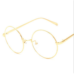 Wholesale Korean Spectacle Frames - Wholesale-NEW korean retro full rim gold eyeglass frame nerd thin METAL PREPPY STYLE vintage spectacles round computer UNISEX black gold