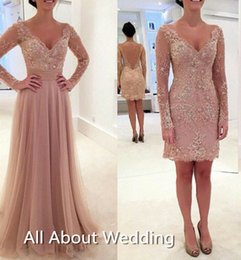 Wholesale Two Split Skirts - Detachable Tulle Skirt Two Piece Long Sleeve Prom Dresses Short inside Long Out Skirt V Neck Bare Back Long Evening Party Dresses