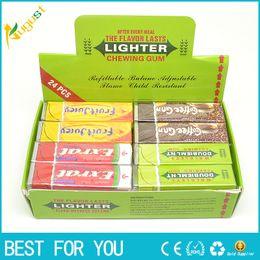Wholesale Green Lighters - Novelty gas Chutty Lighter Chewing Gum Windproof gas lighter Green Arrow Flame lighter Gadget for smoking