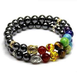 Wholesale Silver Turquoise Stone Chain Bracelet - Natural Black Lava  Onyx  Hematite Stone Bead Charm Bracelets Women 7 Reiki Chakra Bracelet Healing Balance Bracelet For Men