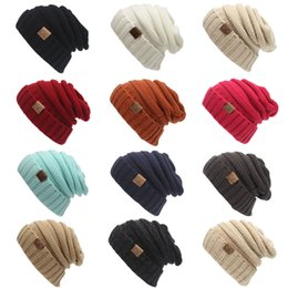 Wholesale Cable Knit Beanie Hat Wholesale - DHL IN STOCK!! CC Solid Ribbed Beanie Trendy Warm Chunky Soft Stretch Cable Knit Beanie 13 Colors Stingy Brim Hat