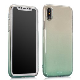 Wholesale Rubber Colorful Cell Phone Cases - Gradient Soft TPU Case For Iphone X 5.8'' Colorful Rainbow Clear Dual Color Rubber Gel Silicone Transparent Cell Phone Back Skin Cover