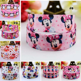 Wholesale New Ribbon Grosgrain Printed - 7 8'' (22mm) Mickey Minnie Cartoon Character printed Grosgrain Ribbon party decoration satin ribbons OEM 100Yards