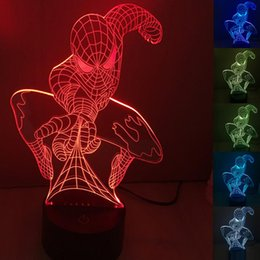 Wholesale Halloween Spiderman - 3D Spiderman Optical Night Light 7 RGB Lights DC 5V USB Powered with AA Battery Bin Factory Wholesale