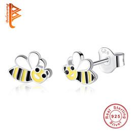 Wholesale Silver 925 Bee - BELAWANG Enamel Cartoon Bee Children Earrings 925 Sterling Silver Honeybee Shape Stud Earrings for Women Fashion Jewelry Gift Free Shipping