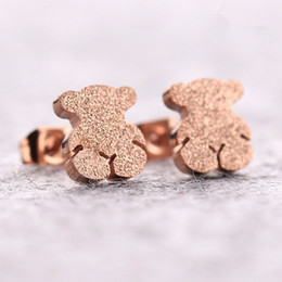 Wholesale Titanium Gold Plated Earrings - Stainless Steel Earrings Tous Bear Fashion Rose Gold Bear Pressure Sand Pop Spain Earrings Korean Titanium Jewelry Love Girl Gift Drop Ship