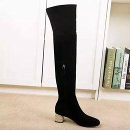 Wholesale Kitten Heel Red Boots - genuine leather stretch thigh high diamond med heel boots black rhinestone fashion women winter vogue brand 34-40