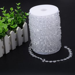 Wholesale Crystal Garland Curtains - 30M Acrylic Crystal Beads Clear Diamond Wedding Party Home Garland Chandelier Curtain Decorations Table Centerpieces Decoration