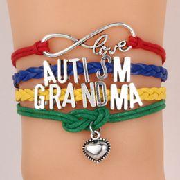 Wholesale wholesale autism charms - New arrival infinity bracelets Letter Autism bracelets for patients Fashion Multi-layer Woven bracelets free shipping