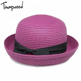 Wholesale Straw Sombreros - Wholesale- New Summer Dome Panama Straw Hat Ladies Beach Hats Sun Hat Boater For Women Adult Sombrero Para El Sol Mujer Verano Gorros