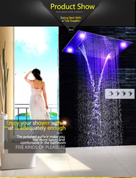 "Wholesale Large Ceiling Shower Heads - 2017 600x800mm 31"" Large Rain Shower Set Waterfall LED Recessed Ceiling-mount 4 Function Shower Head,Remote Control"