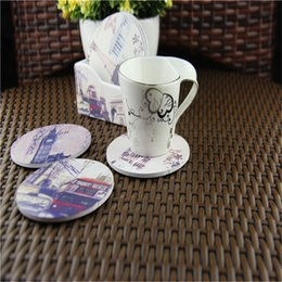 Wholesale Options Pads - Wholesale- High-class vintage printed coaster set with 6pcs wooden cup mats and 1 cup pad holder multi styles for option
