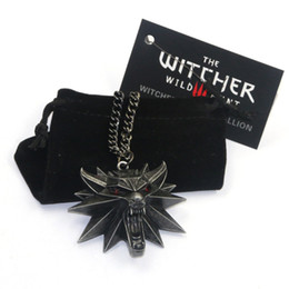 Wholesale Party Halloween Games - Newest Hot The Witcher 3 Wild Hunt Medallion Pendant Chain Necklace The Wild Hunt 3 Figure Game Wolf Head Necklace With Bag & Card