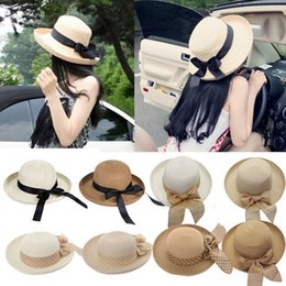 Wholesale Ladies Church Hats Cheap - 2016 Hot New Fashion Summer Casual Women Ladies Wide Brim Beach Sun Hat Elegant Straw Floppy Bohemia Cap For Women Dating Cheap Z1