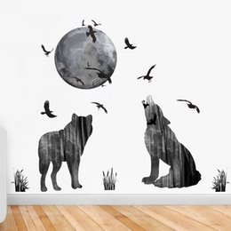 Wholesale decal eagle - Forest Animals Decor DIY Wallpaper Art Decals Eagle Wolf Moon Wall Stickers for Bedroom Room Home Decoration