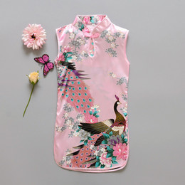 Wholesale Knee Length Chinese Dresses - Fashion Chinese Style Girls Dress Newest Flower Birds Cotton Children's Clothing Kid's Qipao Dress Vintage Baby Clothing Fashion Flower Peac