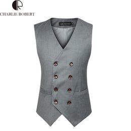 Wholesale Double Breasted Black Mens Vest - Wholesale-Mens Double Breasted Vest Colete Masculino Men Dress Suit Vest Men Formal Black Gtrey Vest Suit Gilet Vest Double Beasted