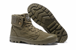 Wholesale High Top Hiking Shoes - Men Women Military Desert Shoes Couple High-Top Canvas Shoe Palladium Ankle Botas Outdoor Hiking Shoes Leisure Cowboy Motorcycle Ankle Boot