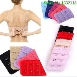 Wholesale Bra Extensions - Wholesale-Hot New 2016 5Pcs Women 3 Rows 2 Hooks Lingerie Bra Strap Extender Soft Back Band Extension 5PZK